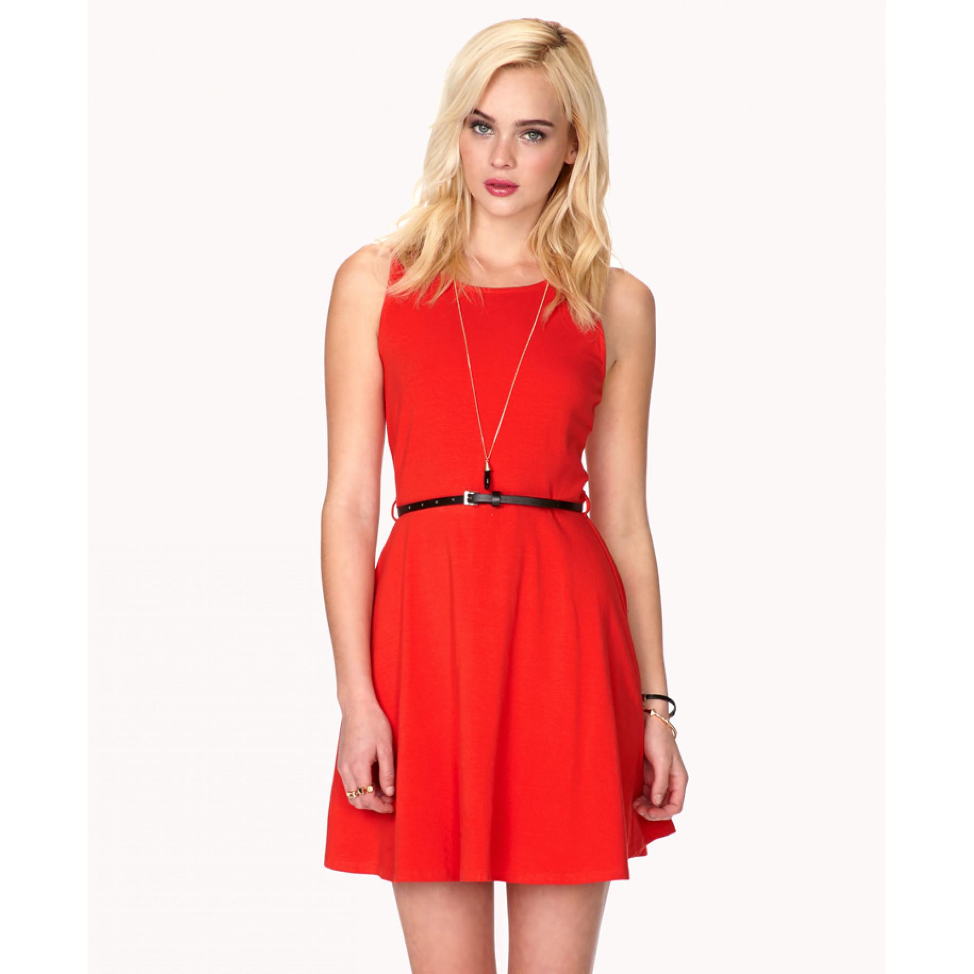 80648cbd328 Купить красное платье без рукавов с поясом Forever21 — в Киеве