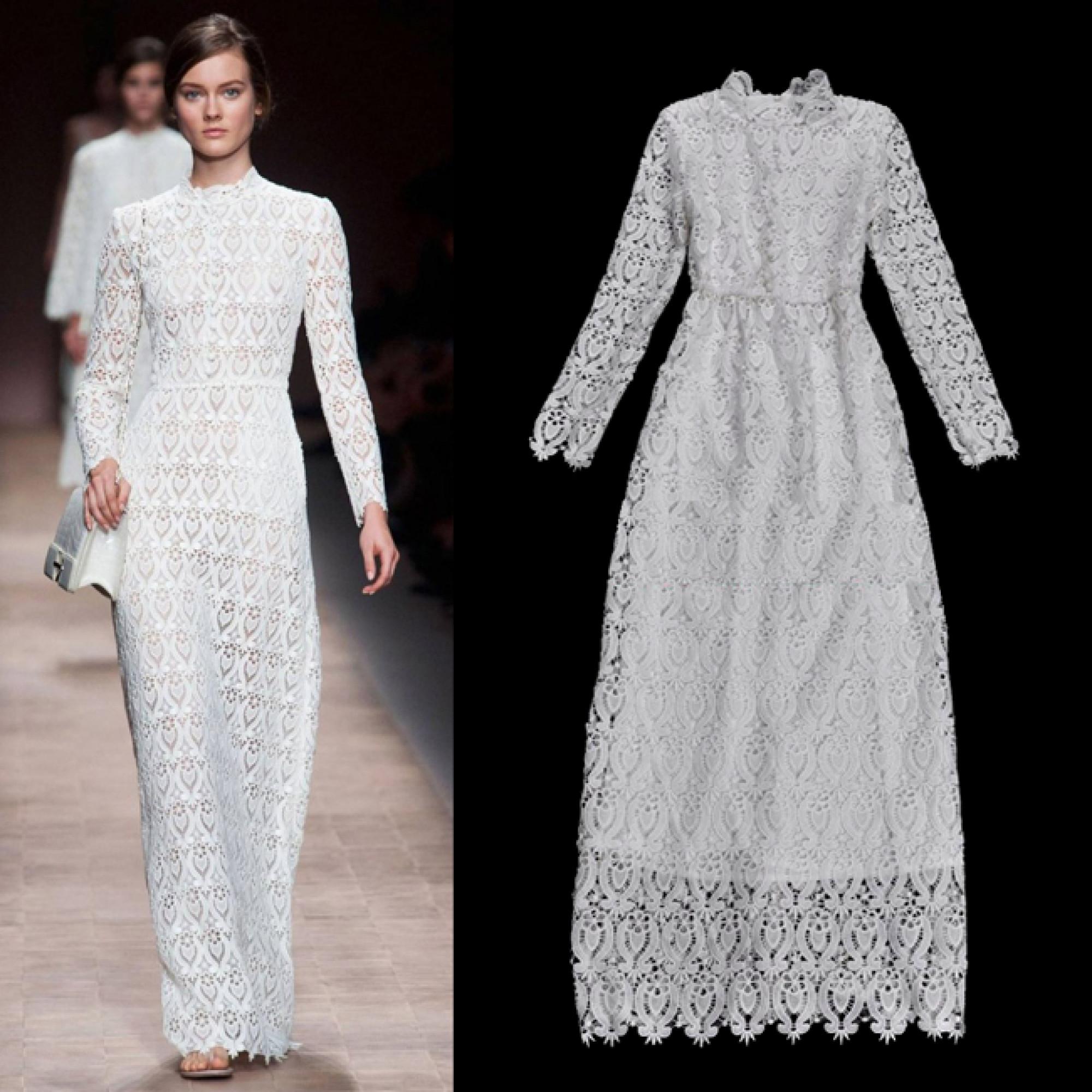cdd658554de Купить белое кружевное платье с длинными рукавами — в Киеве