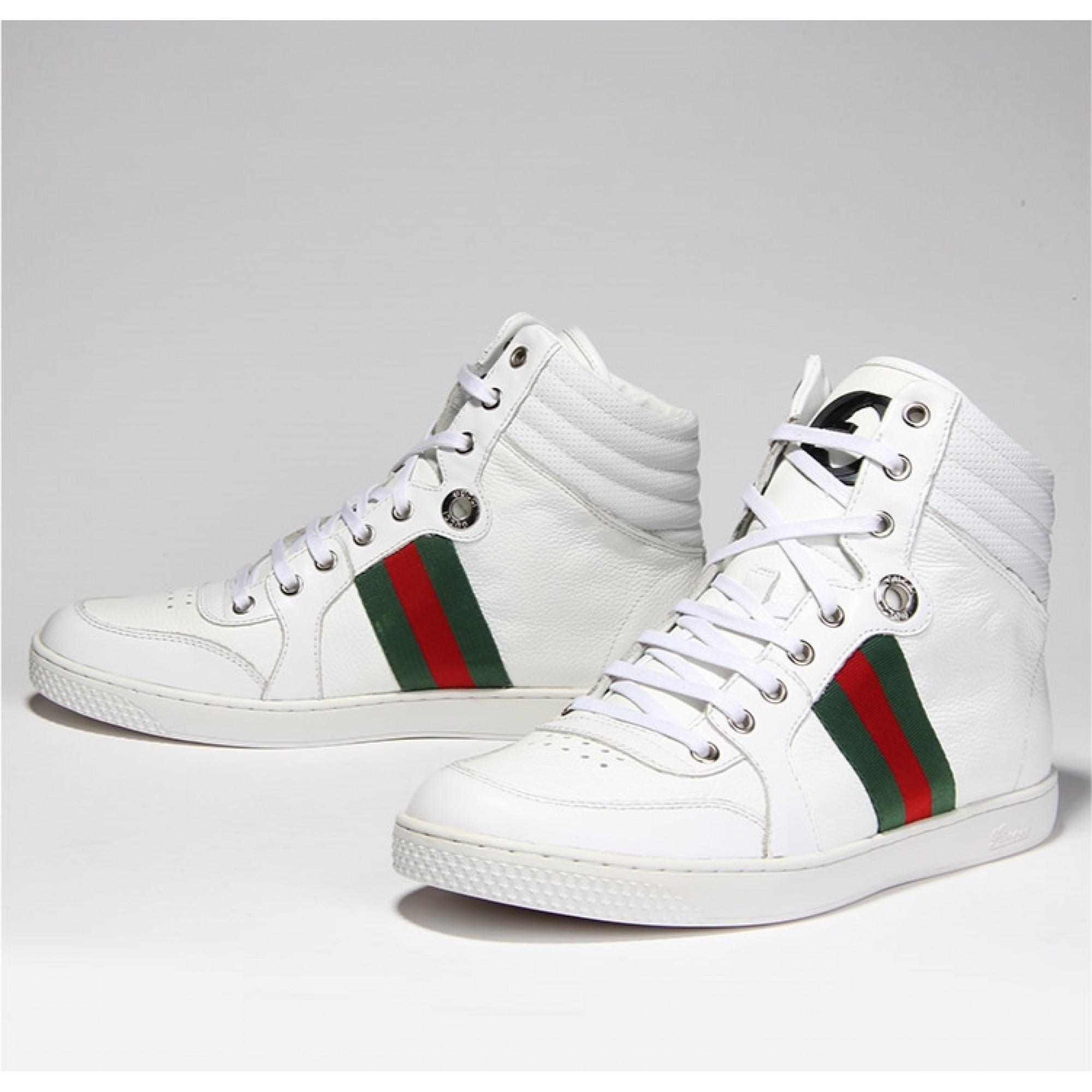Купить белые высокие кроссовки Gucci — в Киеве, код товара 17787 d79370ae809