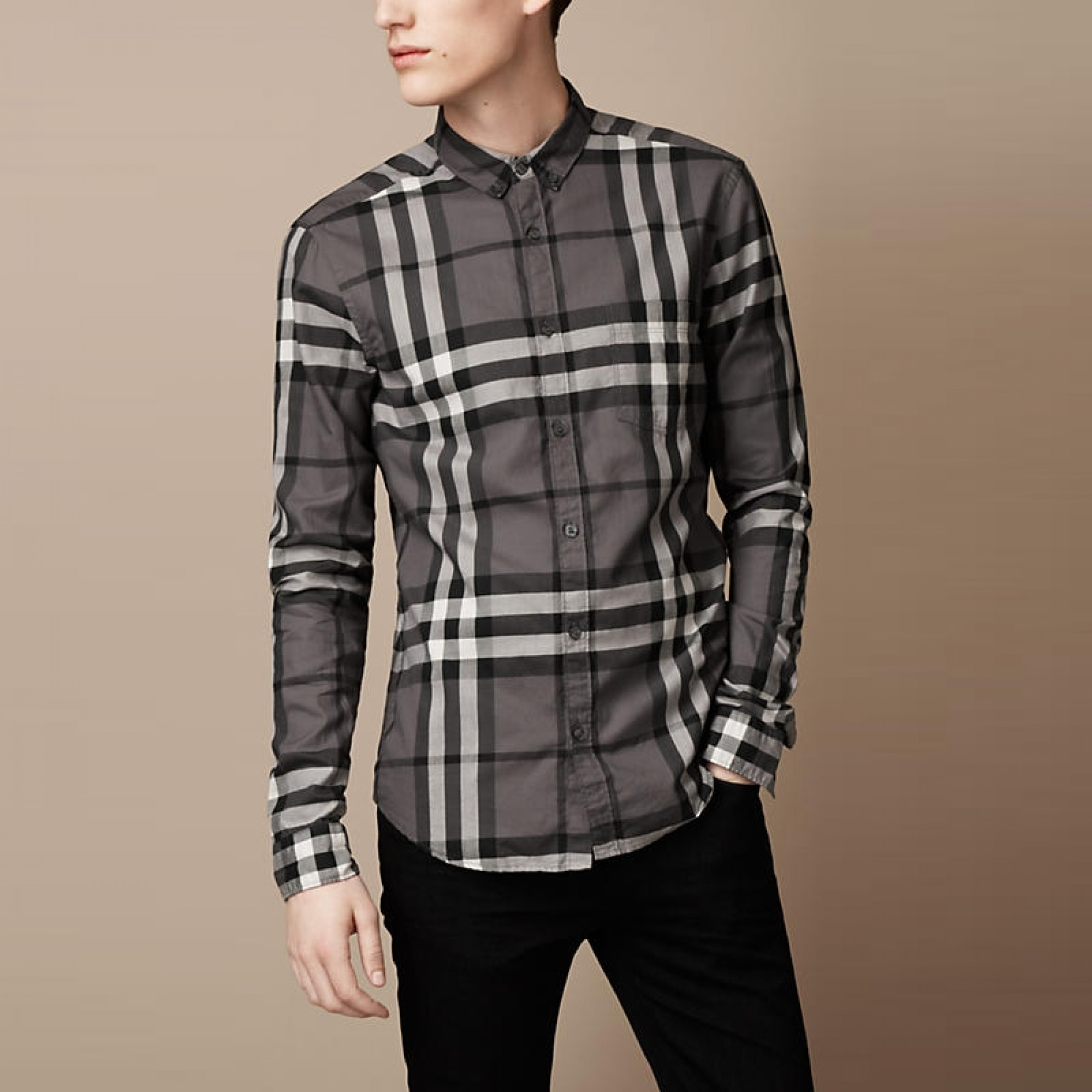 Купить мужская рубашка Burberry в серую клетку — в Киеве, код товара ... a855ca946a9