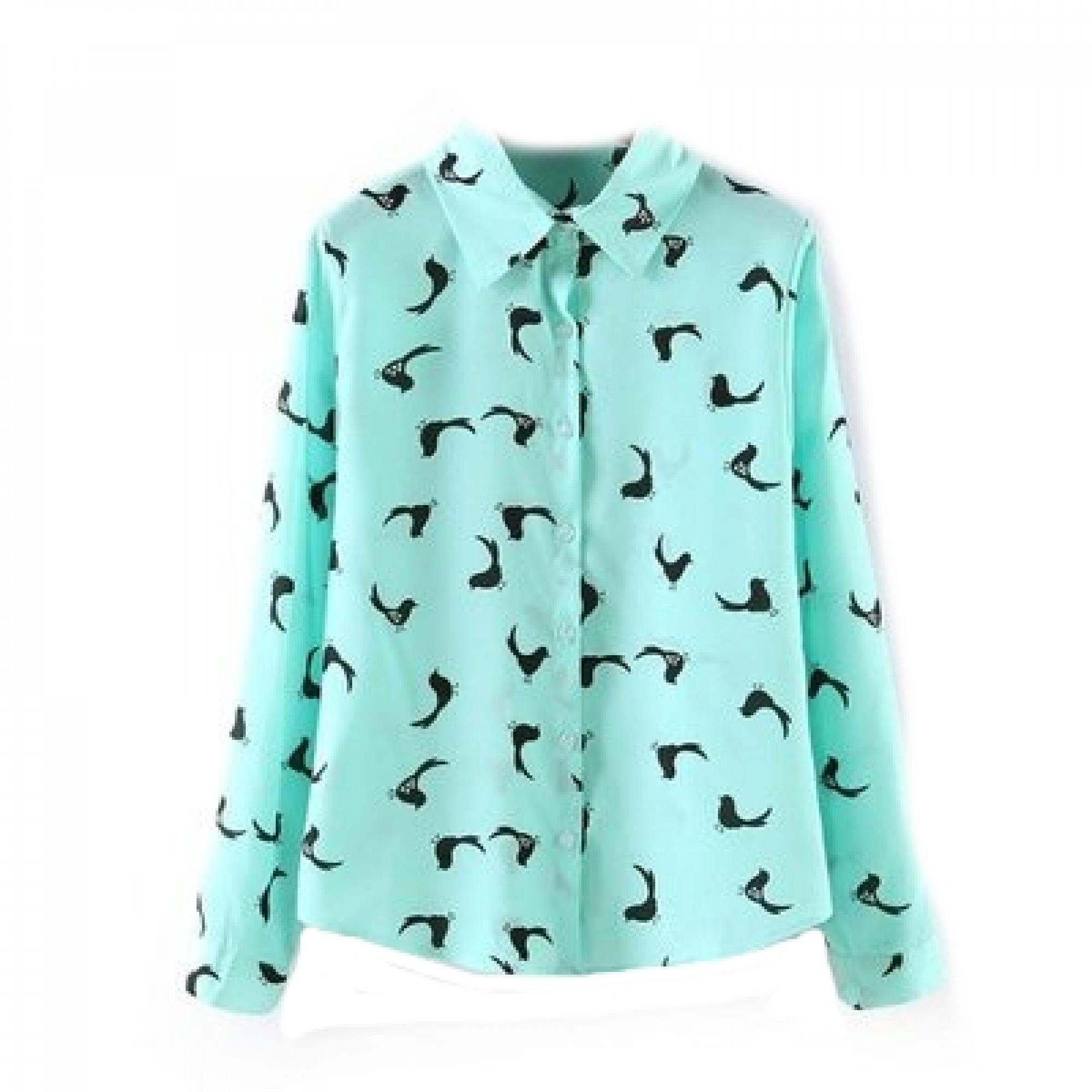 203a5b0e4ac Купить бирюзовая женская рубашка с птицами — в Киеве