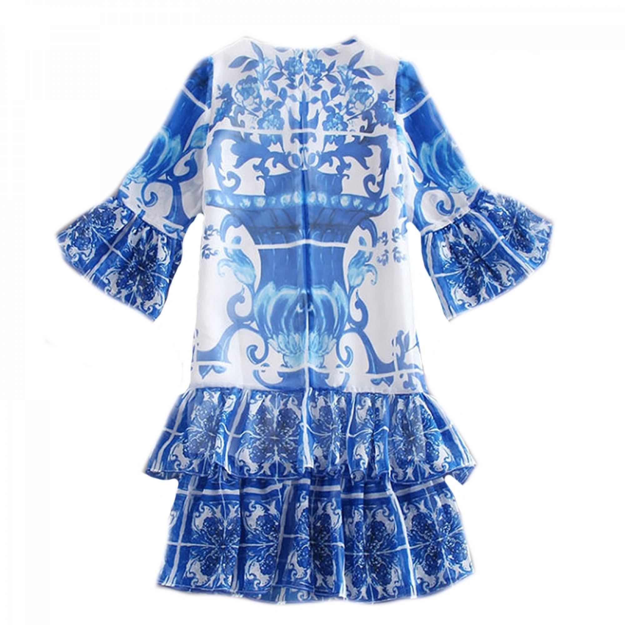 1b9fc22b3c15ecf Купить синее платье Dolce&Gabbana c юбкой воланами — в Киеве, код ...