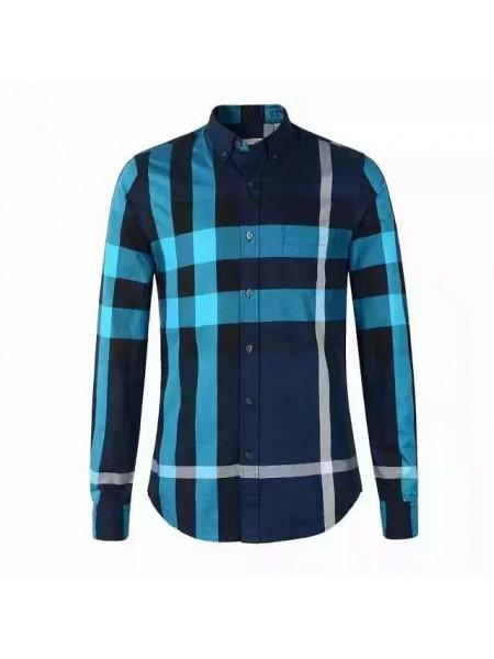 Мужская синяя рубашка Burberry с логотипом e608c2909df