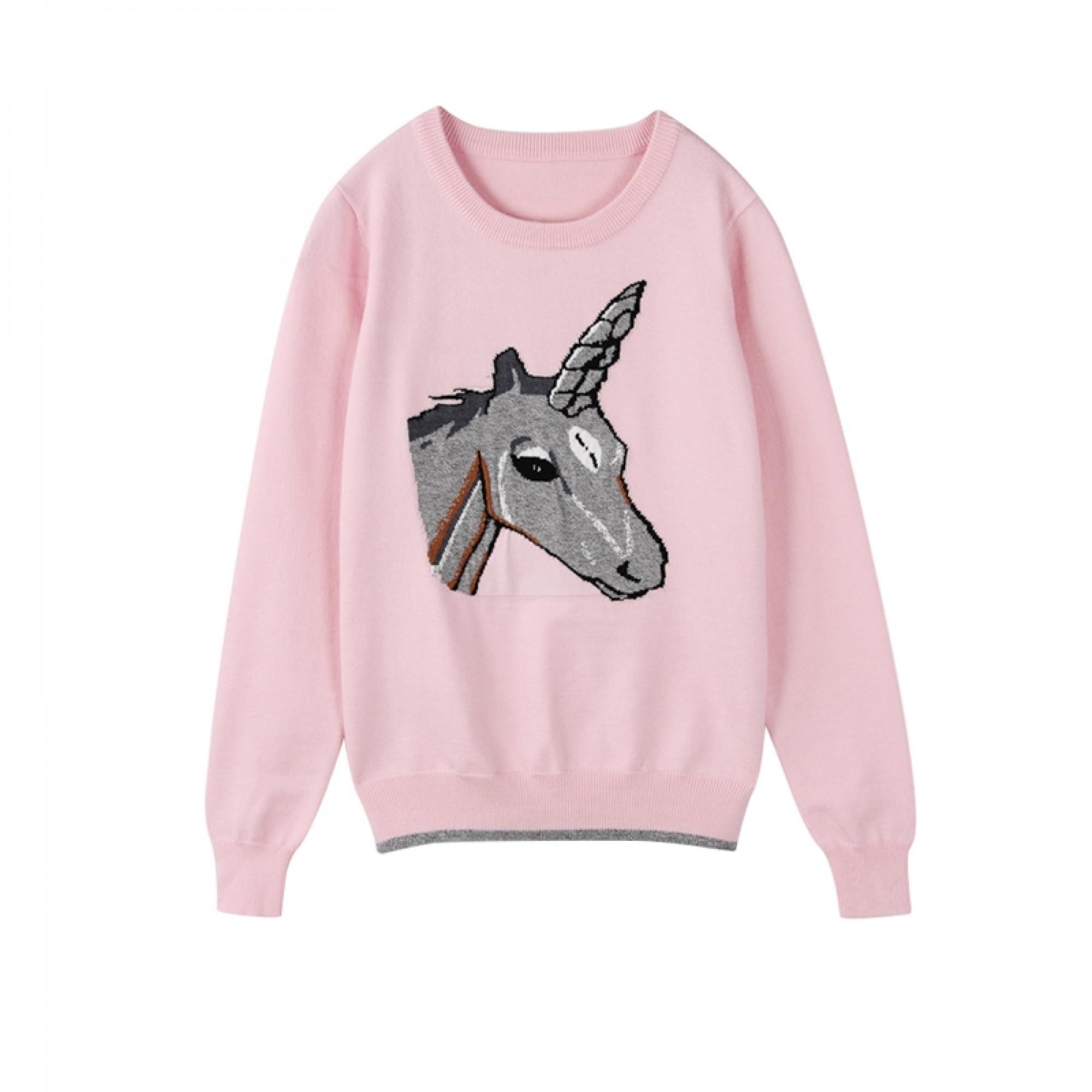 bad4ce78efbee Розовый свитер с единорогом: купить женский свитер и пуловер в ...