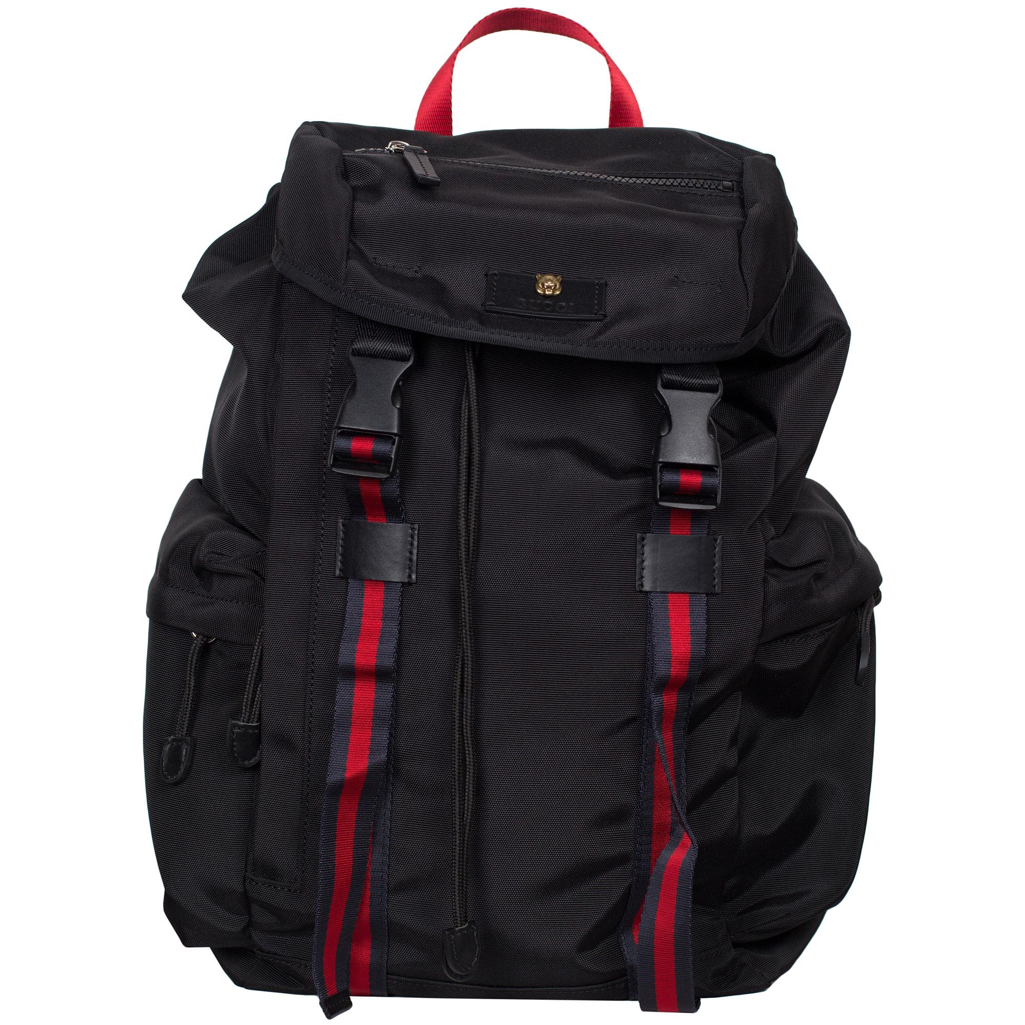Черный рюкзак Gucci с фирменной вставкой 57b4e44d3e1dc