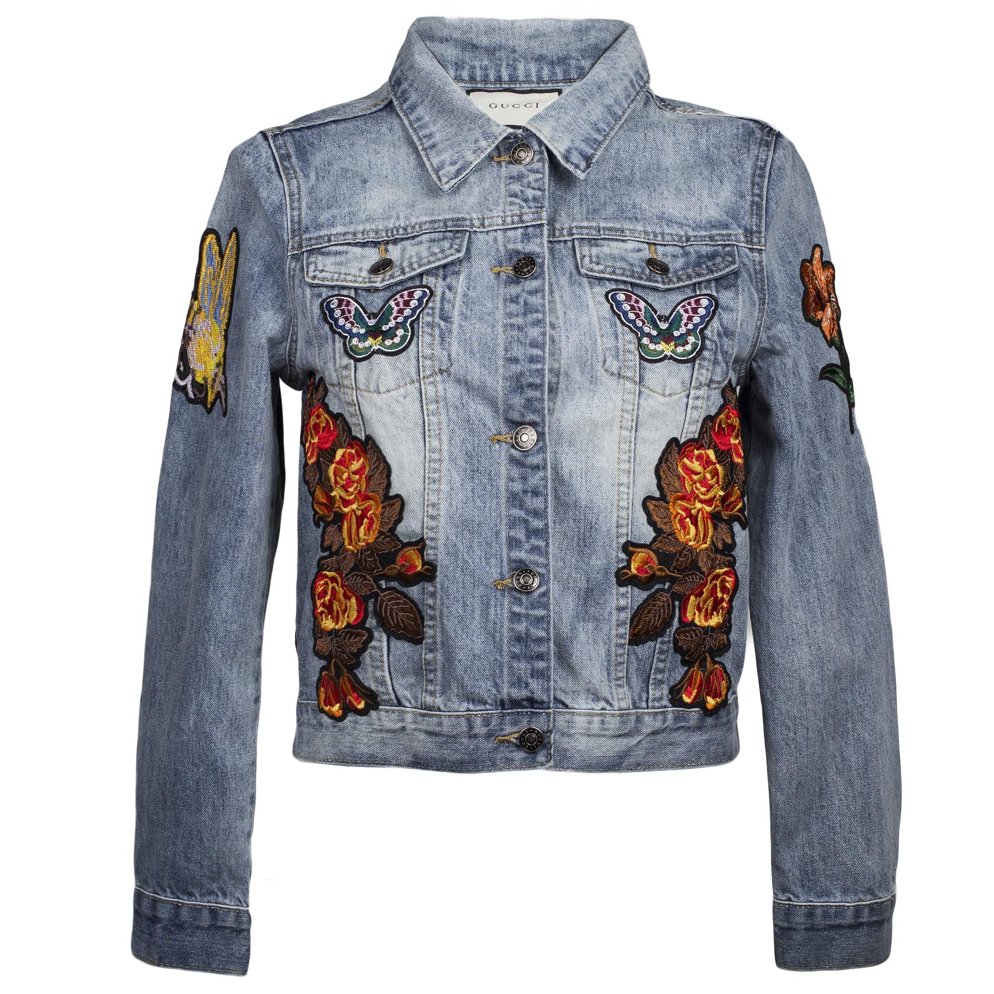 Джинсовая куртка Gucci с тигром на спине
