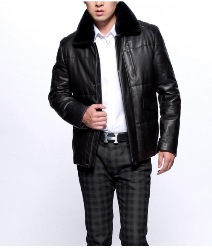 Купить мужская кожаная куртка с муховим воротником — в Киеве e0dd5cc517b21