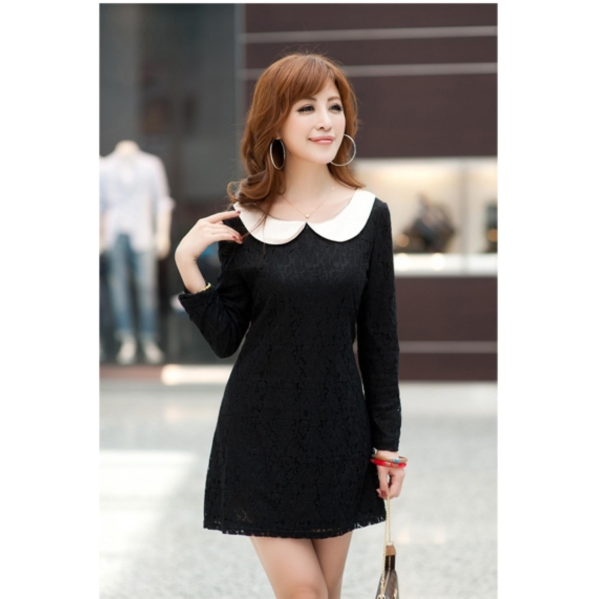 Купить чёрное платье с белым воротником — в Киеве, код товара 8585 4d14625a380
