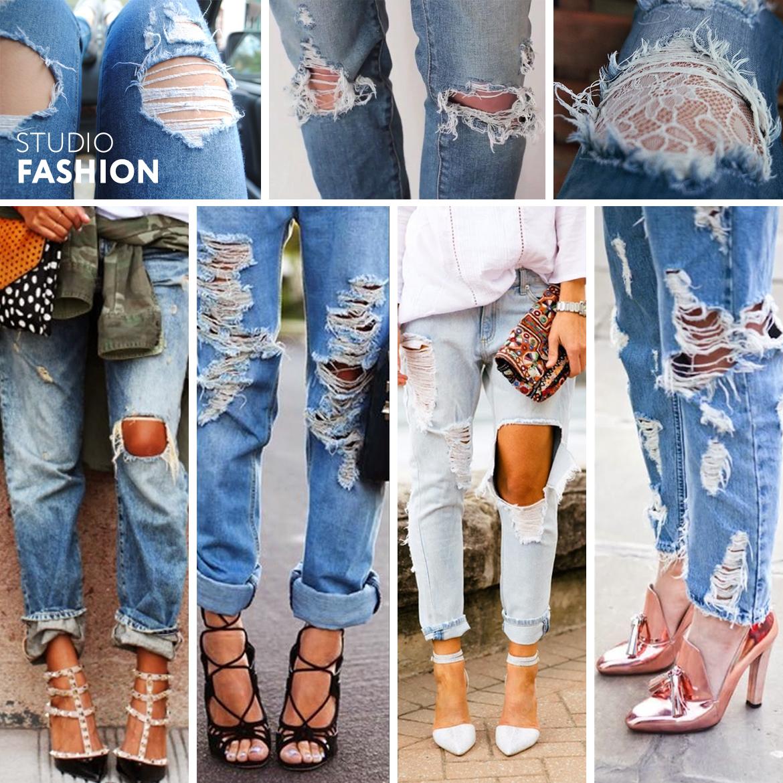 Декор дырки на джинсах