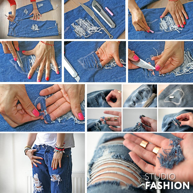 Как сделать джинсы рваными мастер