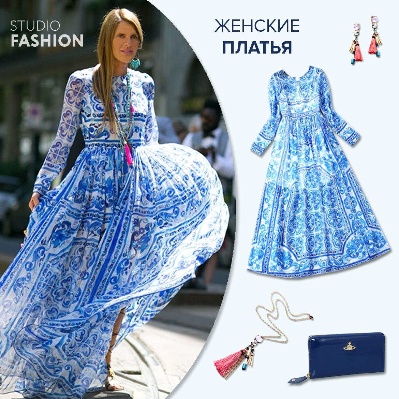 Женские платья 2015-2016  макси длина и фарфоровый принт. Читайте ... 111a0ce5151